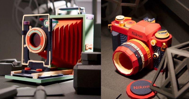 韩国艺术家用纸艺手工制作出漂亮的复古胶片相机!